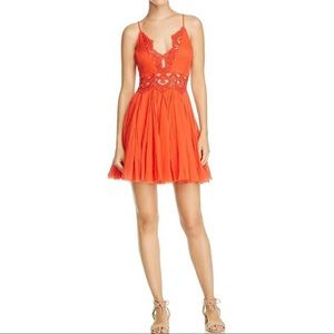 Free People NWT Red Lace Peek Dress M